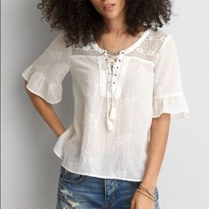 AE white lace tee with bell sleeves